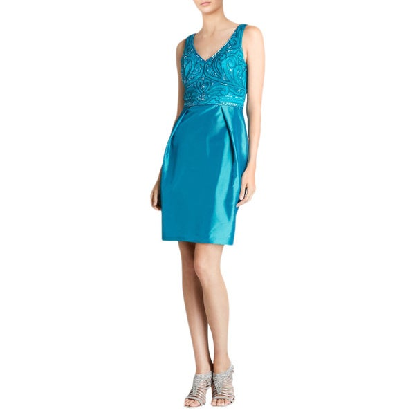 Sue Wong Teal Beaded V-neck Lace Bodice Pleated Taffeta Skirt Cocktail Dress