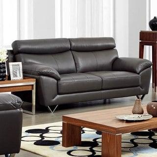 Luca Home Contemporary Grey Italian Leather Sofa