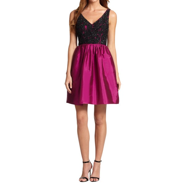 Aidan Mattox Embroidered Lace Detail Taffeta Sleeveless Cocktail Evening Dress