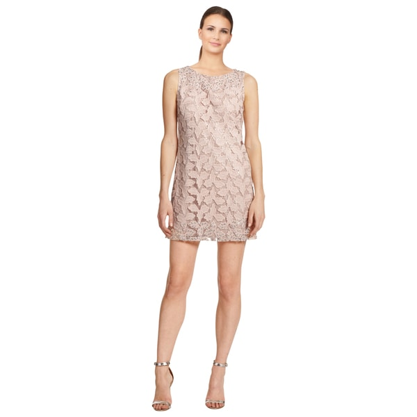 Alice + Olivia Pink Embellished Sleeveless Shift Cocktail Mini Party Dress
