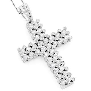 Luxurman 14K Unique Mens Diamond Cross Pendant 7.15ct (G-H, VS1-VS2)