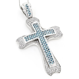 Luxurman Checkered 14K Gold White and Blue Diamond Cross Pendant 8.10ct (G-H, SI1-SI2)