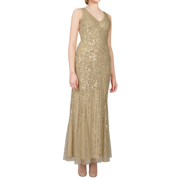 Aidan Mattox Gold Sequin Tulle V-neck Sleeveless Long Evening Dress