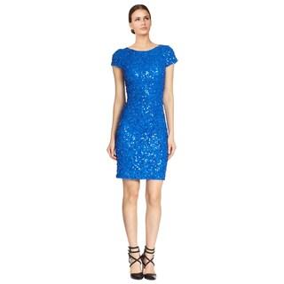 Alice + Olivia Blue Taryn Cap Sleeve Sequin Sheath Cocktail Party Dress