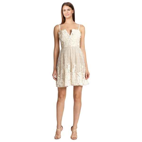 Alice + Olivia Devorah Floral Applique Lace Bustier Cocktail Party Dress