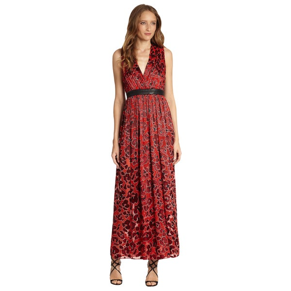 Alice + Olivia Red Leopard Print Fayeth Leather Trim V-neck Maxi Dress