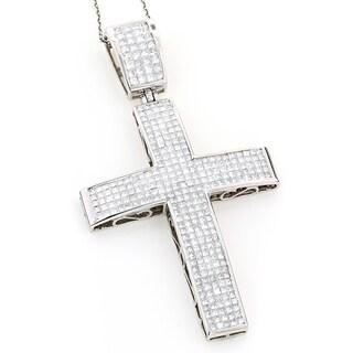 Luxurman 14k White Gold 7 1/2ct TDW Princess-cut Invisible-set Diamond Cross Necklace (H-I, SI1-SI2)