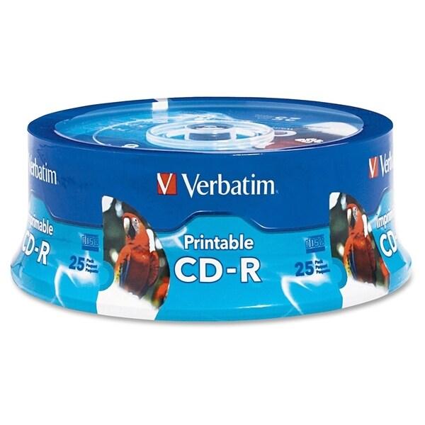 Verbatim CD-R 700MB 52X White Inkjet Printable, Hub Printable - 25pk
