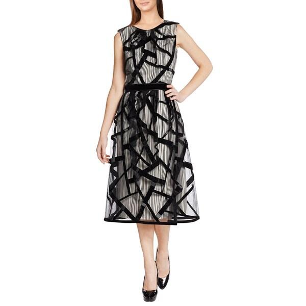 Carolina Herrera White Tulle Cage Overlay Beaded Cocktail Evening Dress