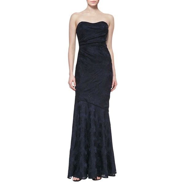 David Meister Navy Black Jacquard Strapless Sweetheart Evening Dress