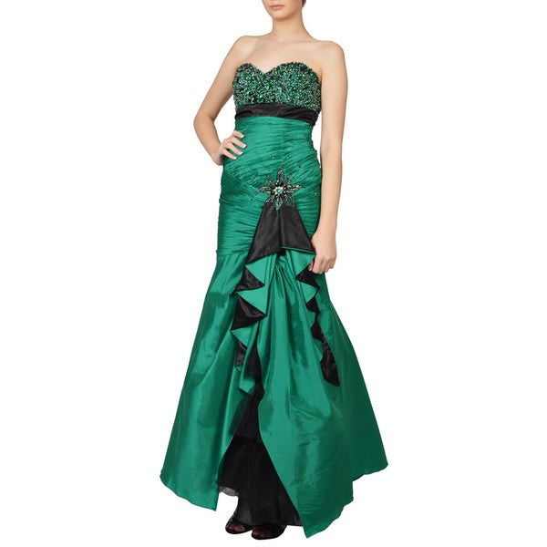 Cinderella Green Strapless Sweetheart Beaded Evening Dress