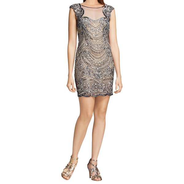 Basix Gray Scalloped Trimmed Beaded Cap Sleeve Cocktail Evening Dress