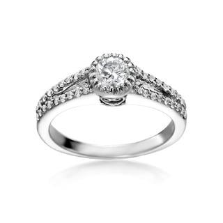 14k White Gold 3/4ct TDW Round Diamond Split Shank Engagement Ring (H-I, SI1-SI2)