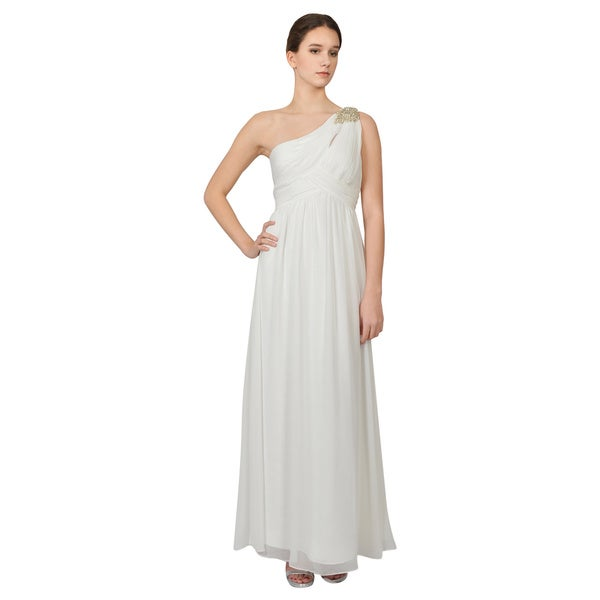 Calvin Klein Ivory One Shoulder Rhinestone Evening Dress