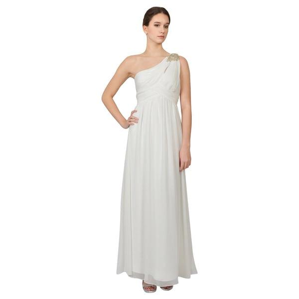 Calvin Klein Ivory One Shoulder Rhinestone Evening Dress