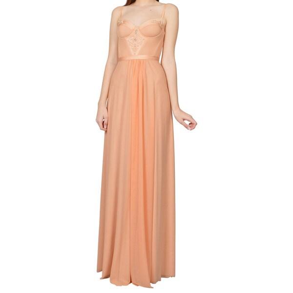 Alon Livne Pale Nude Spaghetti Strap Bustier Evening Dress
