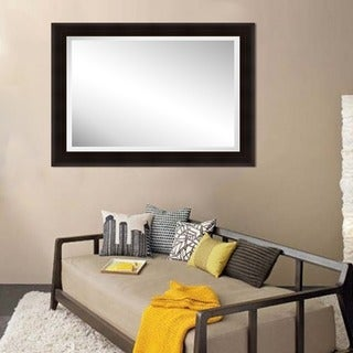 Framed Beveled Mirror- Wood Espresso
