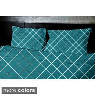 (104x88) Navy Blue, Teal, Beige, Gold King Geometric Print Duvet Cover