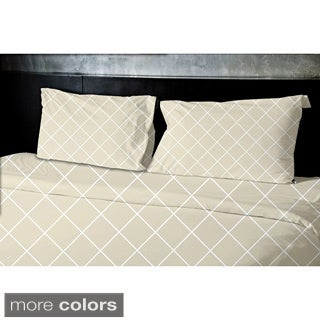 (88x88) Navy Blue, Teal, Beige, Gold Queen Geometric Print Duvet Cover