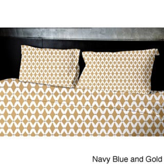 (88x88) Navy Blue Queen Geometric Print Duvet Cover