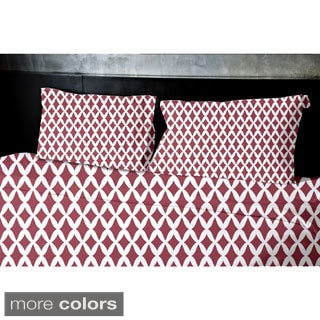 Navy Blue, Dark Green, Grey, Coral, Rust King Geometrics Printed King Duvet Cover