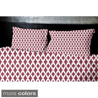 Navy Blue, Dark Green, Grey, Coral, Rust Geometrics Printed Twin Duvet Cover