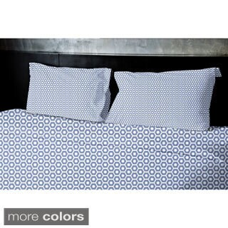 (68x88) Navy Blue, Light Blue, Aqua, Coral, Purple Twin Geometrics Printed Duvet Cover