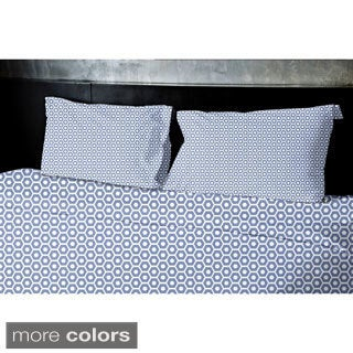 (104x88) Navy Blue, Light Blue, Aqua, Coral, Purple King Geometrics Printed Duvet Cover
