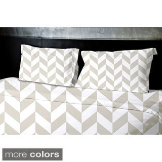 (104x88) Light Blue, Aqua, Grey, Light Purple, Taupe King Geometrics Printed Duvet Cover