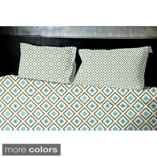 Navy Blue Geometrics Printed Twin Duvet Cover