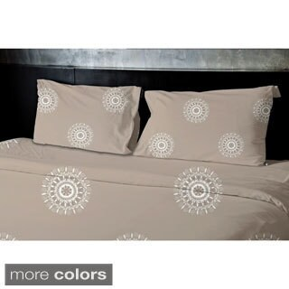 (104x88) Grey, Taupe King Geometrics Printed Duvet Cover