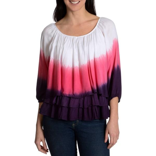Chelsea & Theodore Women's tie dye peasant top