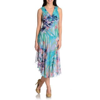 RABBIT RABBIT RABBIT Women's Watercolor Floral Chiffon Dress