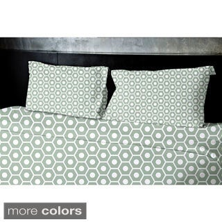 (88x88) Light Blue, Light Green, Grey, Light Purple, Taupe Queen Geometrics Printed Duvet Cover