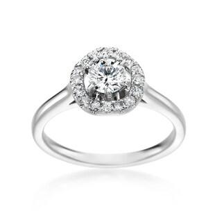 14k White Gold 3/4ct TDW Round Diamond Halo Engagement Ring (H-I, SI1-SI2)