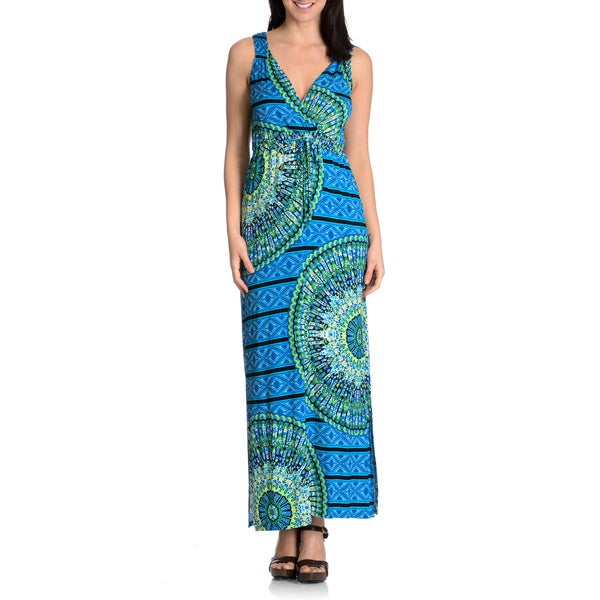 Chelsea & Theodore Women's Printed Drawstring Waist Maxi Dress