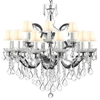 19th Century Rococo Wrought Iron and Crystal 18 Light Chandelier with White Shades