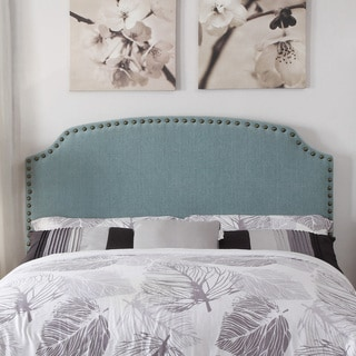 Furniture of America Emira Adjustable Light Blue Flax Upholstered Headboard