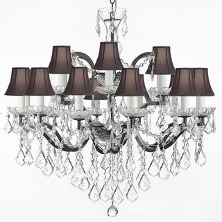 19th C. Rococo Wrought Iron and Crystal 18 Light Chandelier with Black Shades