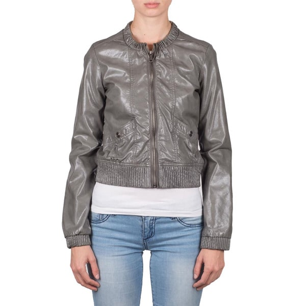 Members Only Women's Faux Leather Vintage Bomber
