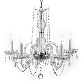 Venetian Style All Crystal 5 Light Chandelier with Swarovski Crystal