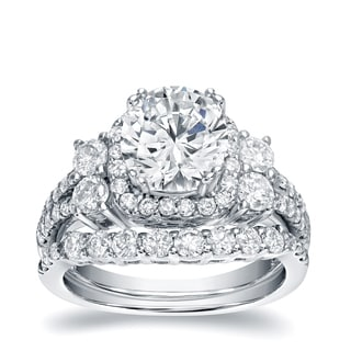 Auriya 14k White Gold 2 1/3ct TDW Round Certified Bridal Ring Set (H-I, I1-I2)