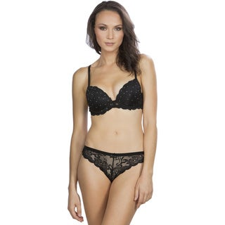 Hers by Herman Women's Black Lace Push-up Bra and Thong Set