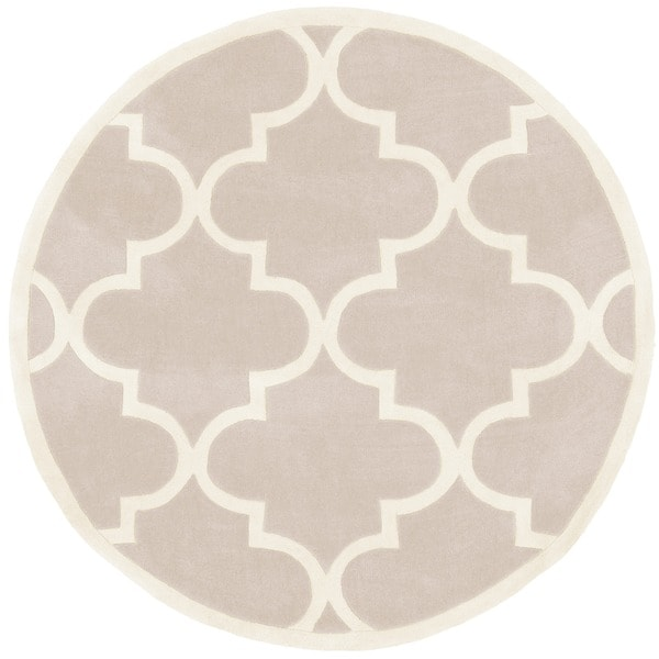 nuLOOM Handmade Luna Moroccan Trellis Round Rug (6' Round) - in Neutral(As Is Item)