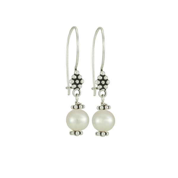 Sterling Silver Freshwater Pearl Dangle Earrings (7-7.5mm)