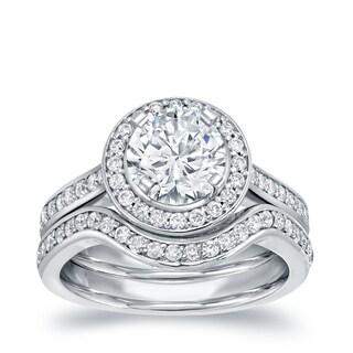 Auriya 14k White Gold 1 1/2ct TDW Round Certified Diamond Bridal Ring Set (I-J, I1-I2)