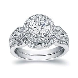 Auriya 14k White Gold 1 2/5ct TDW Certified Halo Diamond Bridal set (I-J, I1-I2)