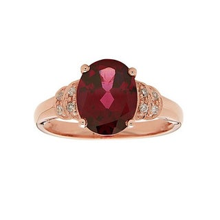 Anika and August 14k Rose Gold Oval-cut Rodholite 1/10ct TDW Diamond Ring (G-H, I1-I2)(Size 7)