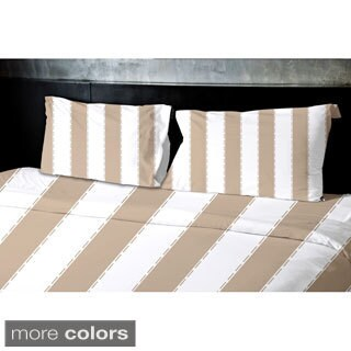 (88x88) Aqua, Sage, Grey, Coral, Taupe Queen Stripe Printed Duvet Cover