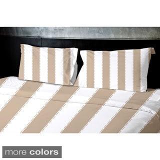 (104x88) Aqua, Sage, Grey, Coral, Taupe King Stripe Printed Duvet Cover